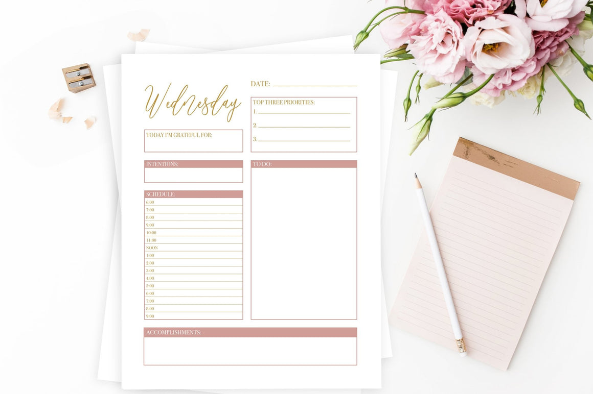 Gold Daily Planner Printables - Free Printable - Pretty Collected