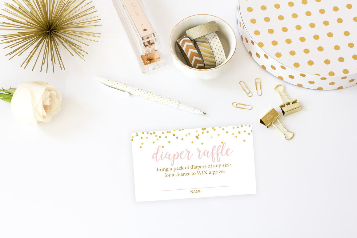 Diaper Raffle - Pink & Gold Confetti Printable - Pretty Collected