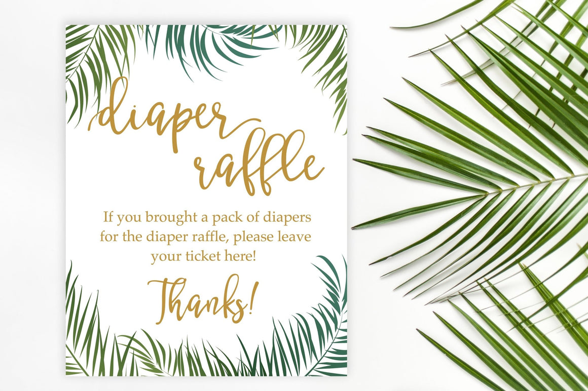 Diaper Raffle Sign - Tropical Printable - Pretty Collected