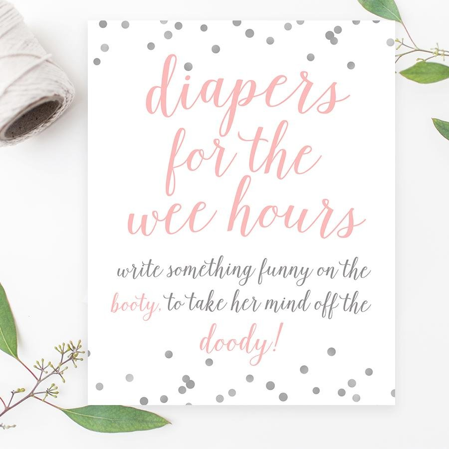 Diapers for the Wee Hours Sign - Pink & Grey Confetti Printable - Pretty Collected