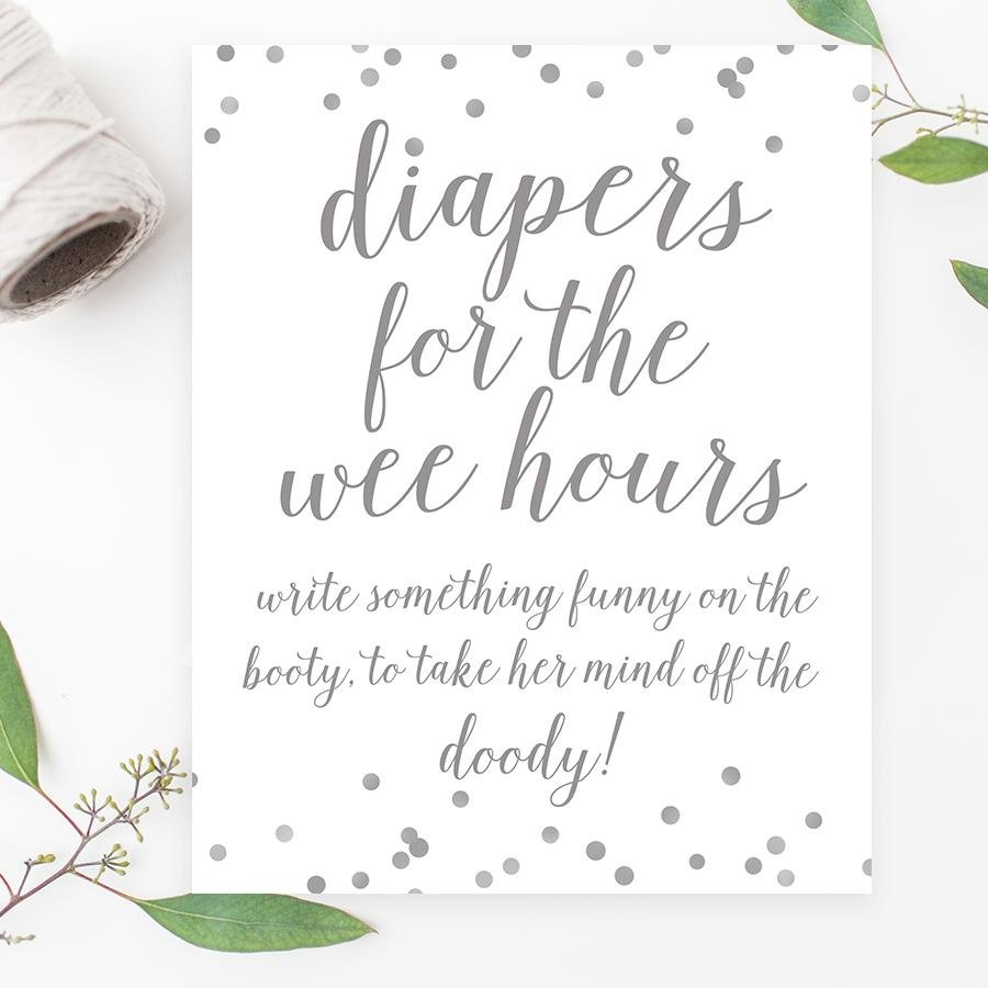 Diapers for the Wee Hours Sign - Grey Confetti Printable - Pretty Collected