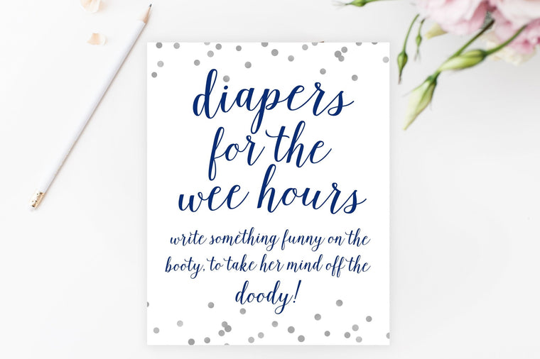 Diapers for the Wee Hours Sign - Navy & Grey Confetti Printable - Pretty Collected