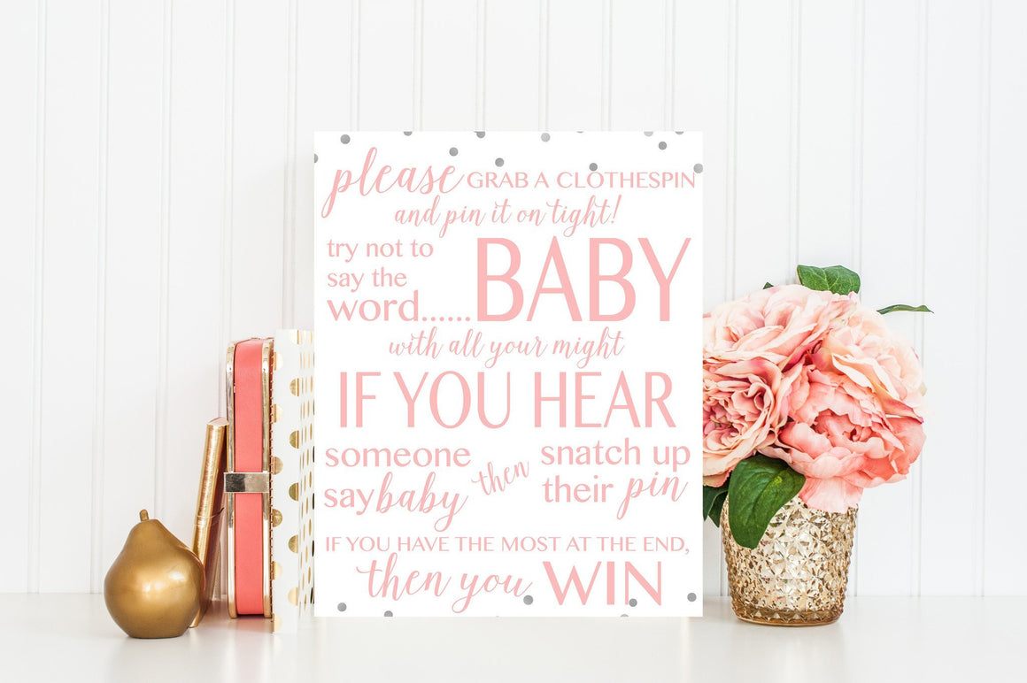 Don't Say Baby Sign - Pink & Grey Confetti Printable - Pretty Collected