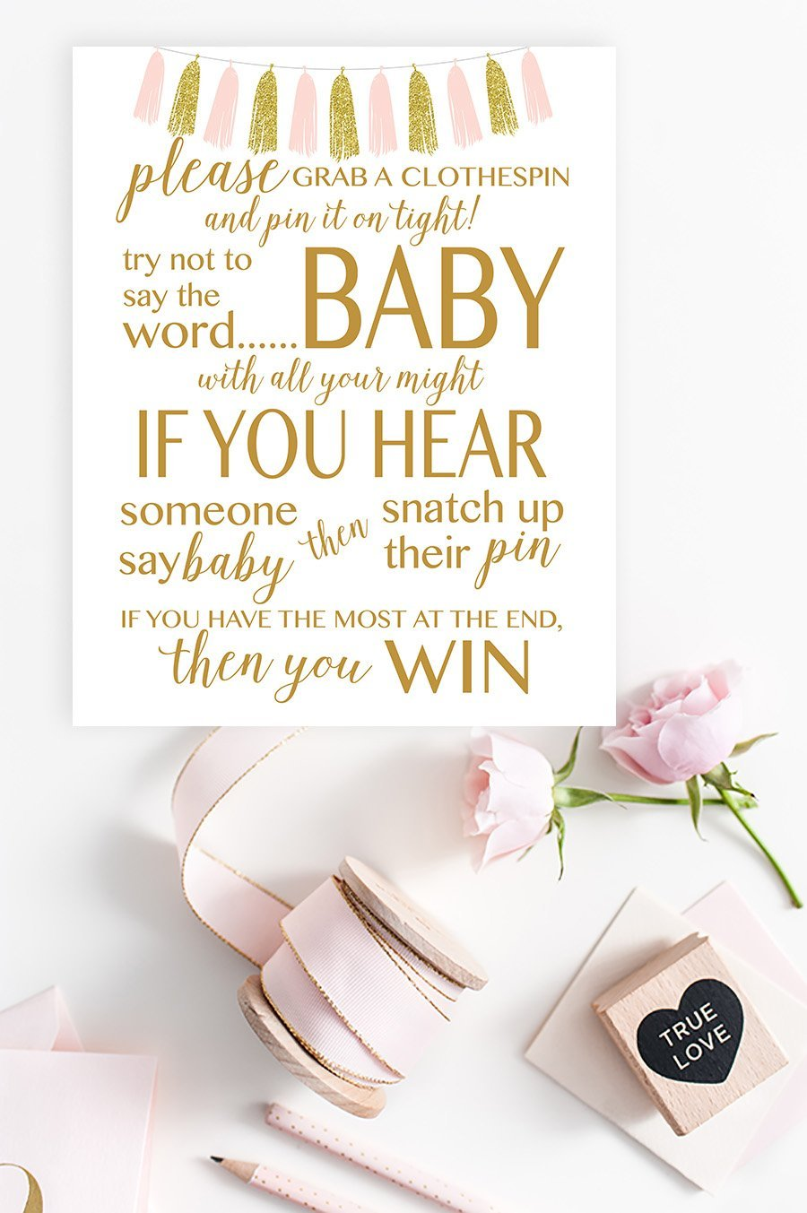 Don't Say Baby Sign - FREE Pink & Gold Tassel Printable - Pretty Collected
