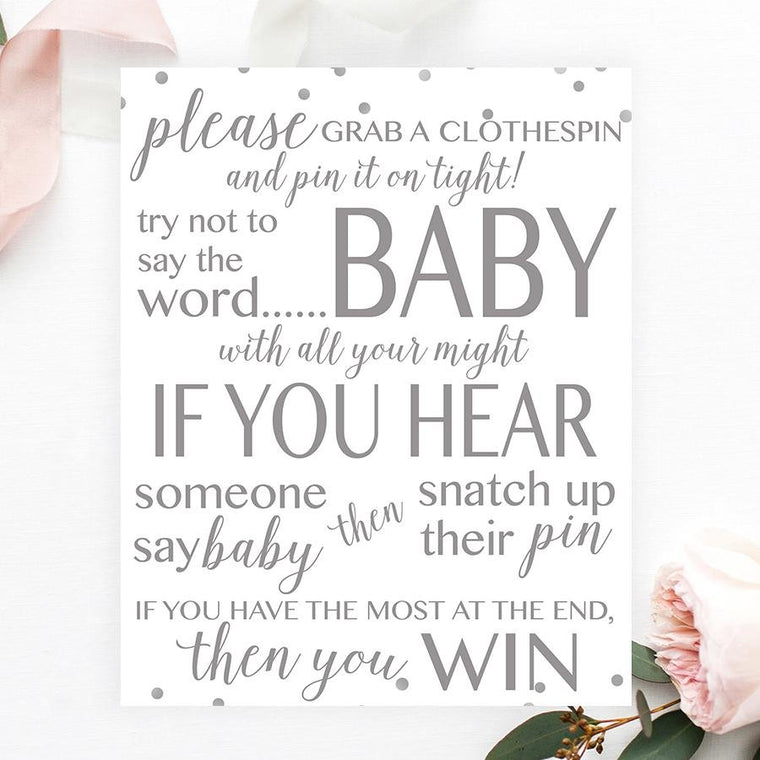 Don't Say Baby Sign - Grey Confetti Printable - Pretty Collected