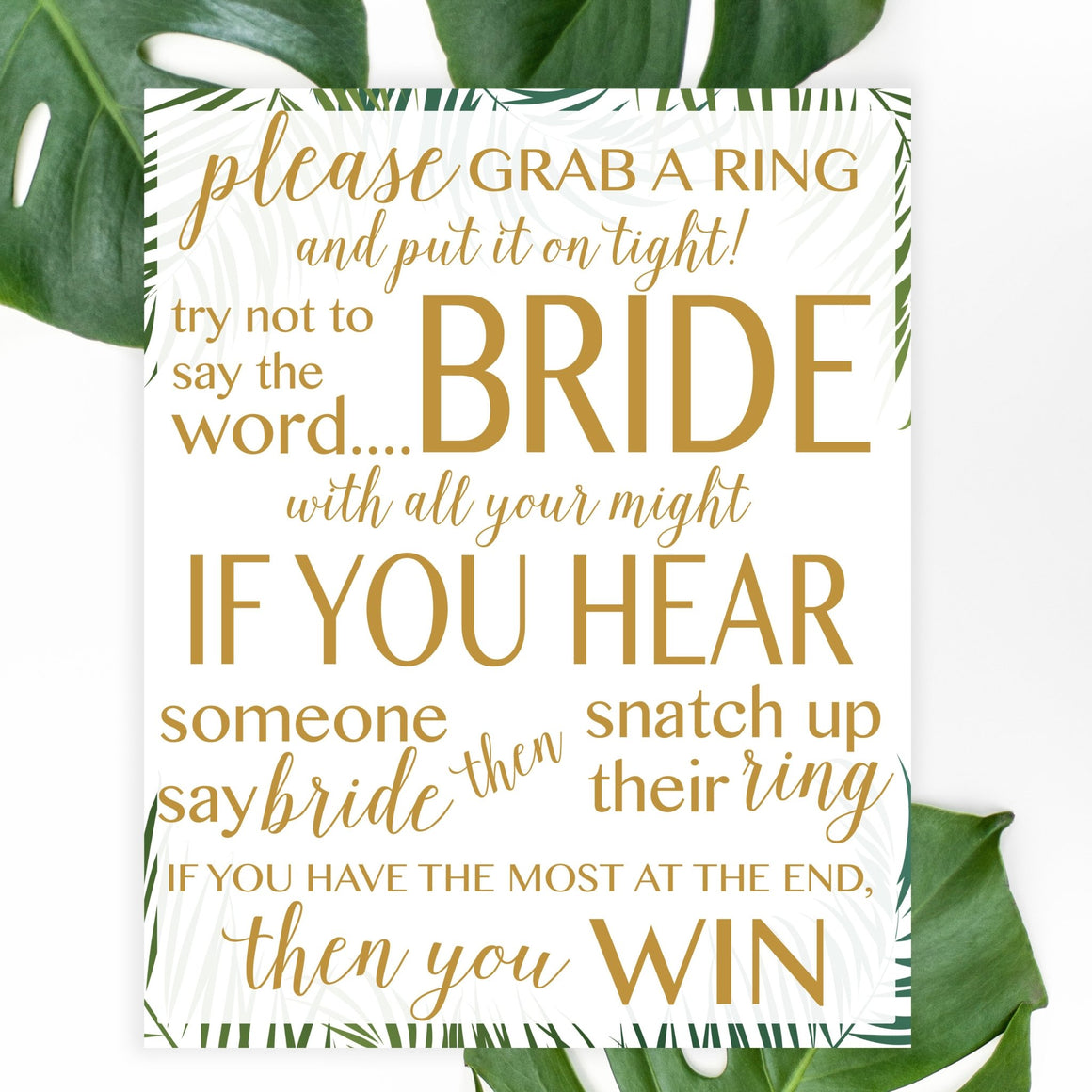 Don't Say Bride Sign - Tropical Printable - Pretty Collected