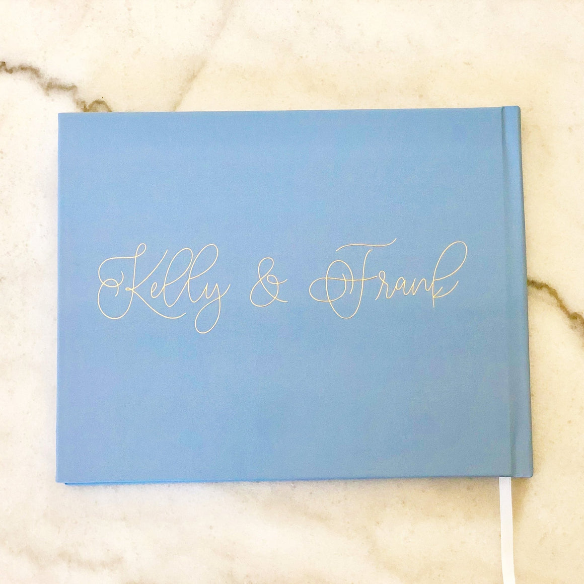Dusty Blue & Gold Foil Wedding Guest Book - The Peterson - Pretty Collected