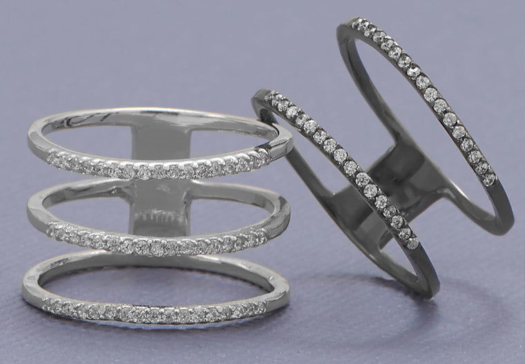 Emma Triple Row Ring - Silver