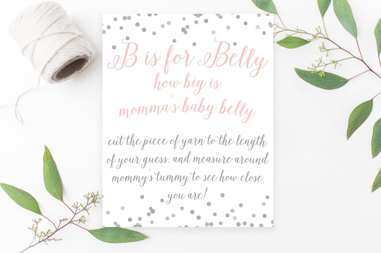 B is for Belly Sign - FREE Pink & Grey Confetti Printable - Pretty Collected