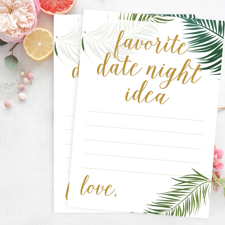 Favorite Date Night Idea - Free Tropical Bridal Shower Printable - Pretty Collected