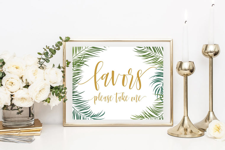 Favors Sign - Tropical Printable - Pretty Collected