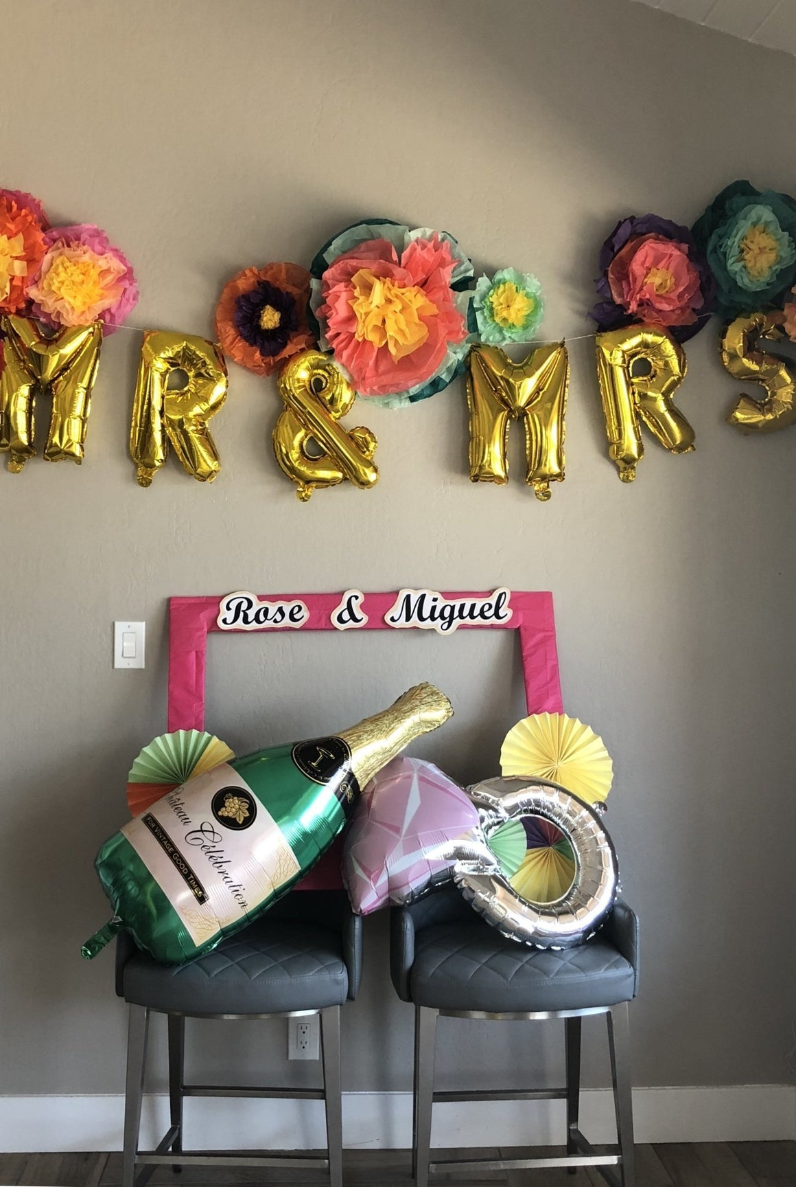 Champagne Bottle & Engagement Ring Balloon Set - Pretty Collected