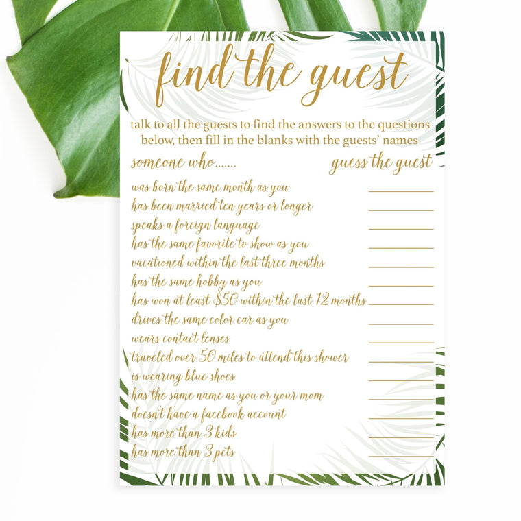Find the Guest - Tropical Printable - Pretty Collected