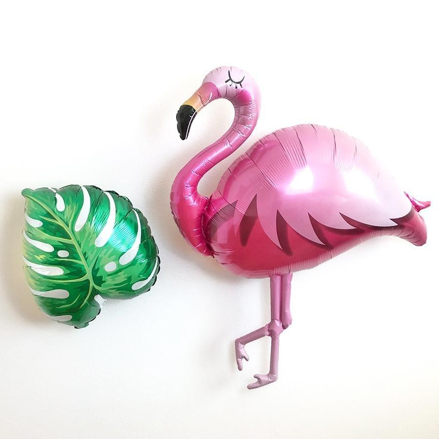 Flamingo and Tropical Leaf Balloon Set - Pretty Collected