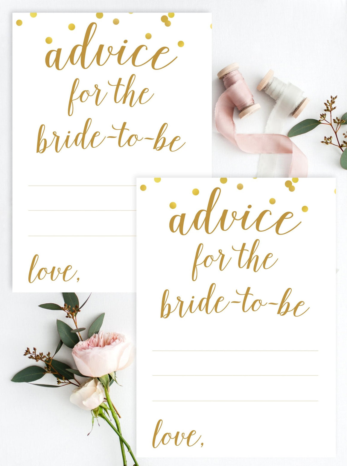 Advice for the Bride-To-Be - Gold Confetti Printable - Pretty Collected