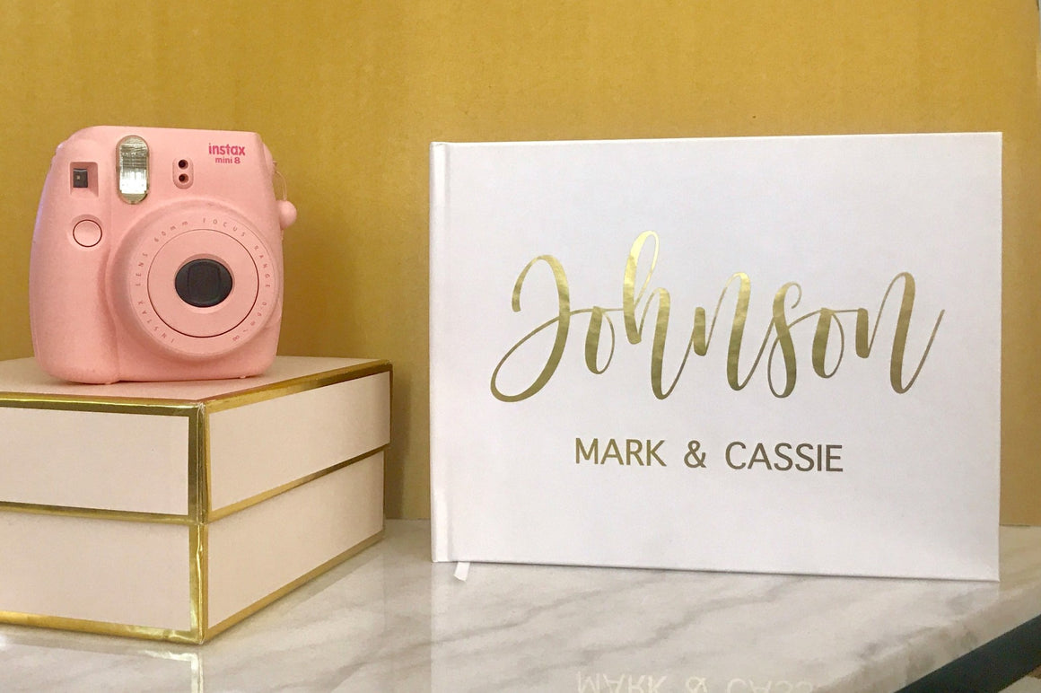 Matte Gold Foil Wedding Guest Book - The Johnsons - Pretty Collected