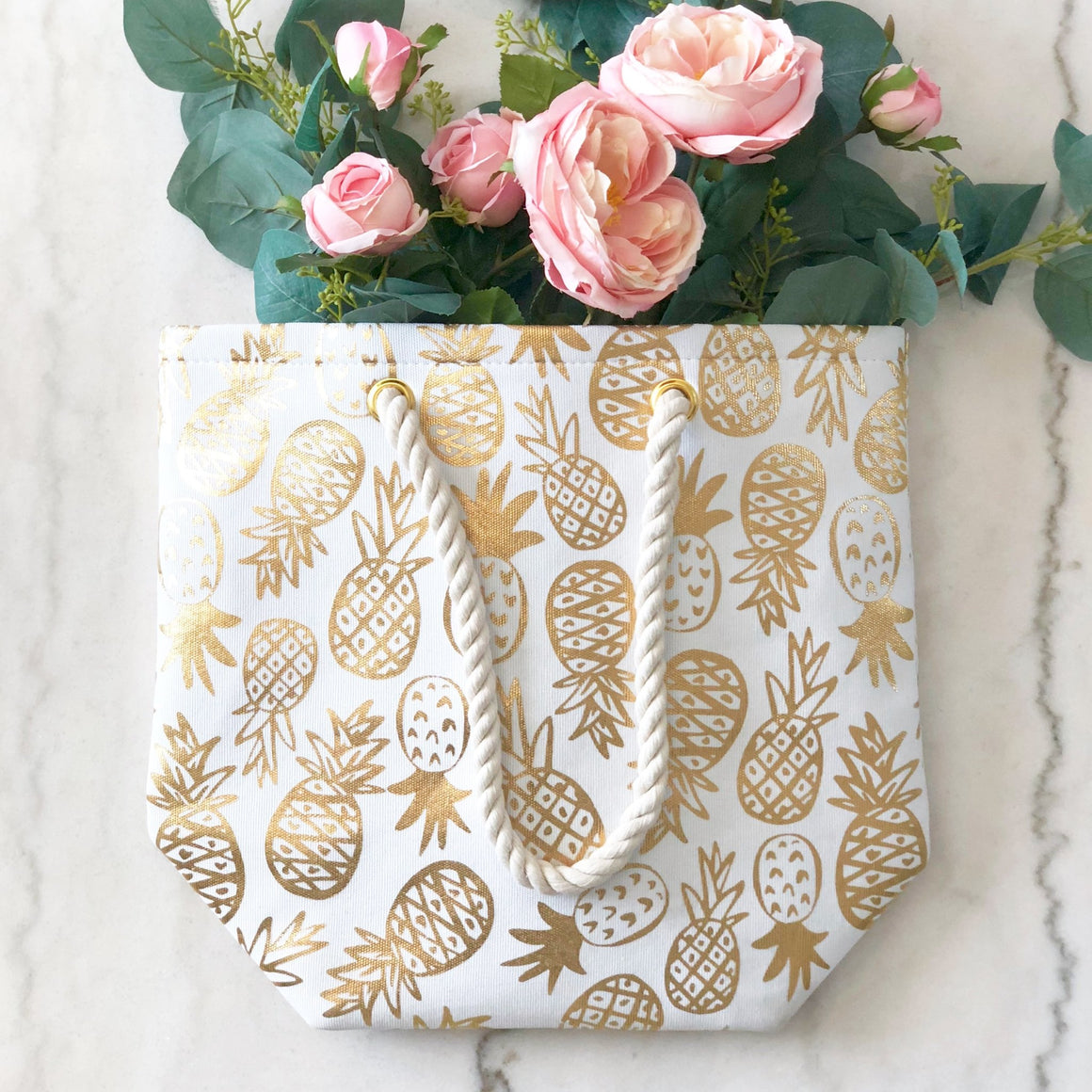 Gold Foil Pineapple Tote - Pretty Collected