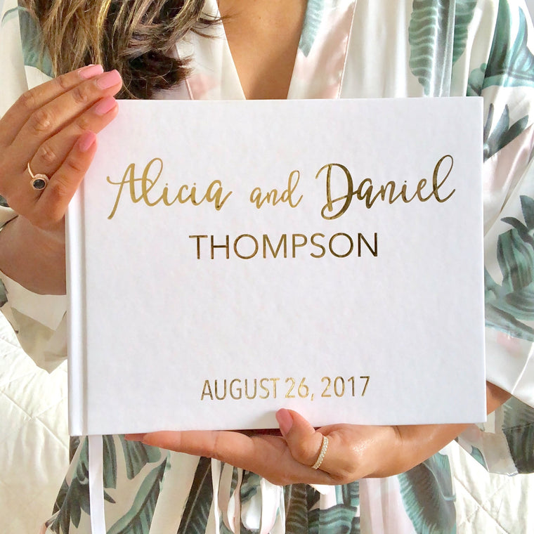 Gold Foil Wedding Guest Book - The Alicia - Pretty Collected