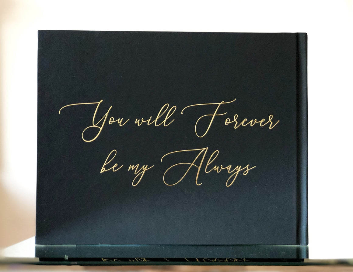 Black & Gold Foil Wedding Guest Book - The Felicia - Pretty Collected