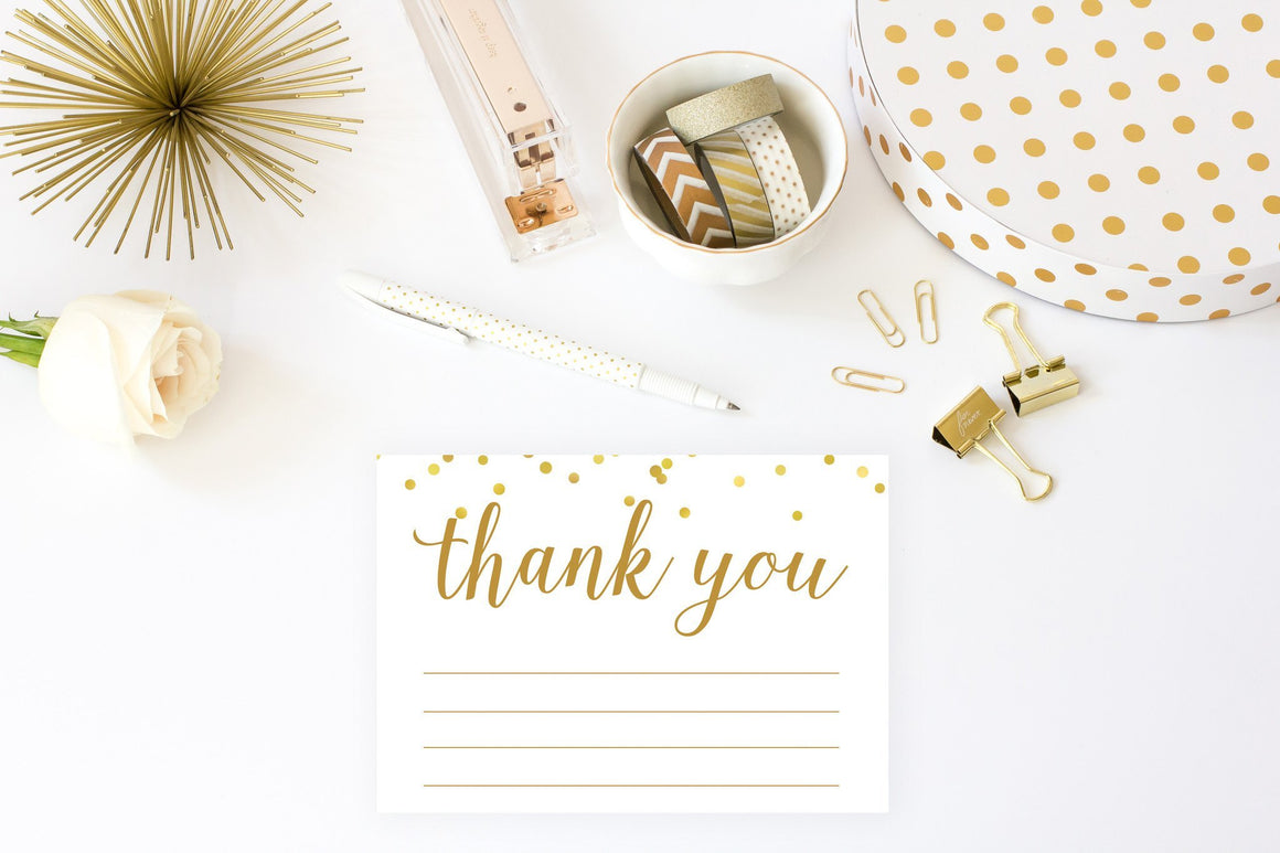 Thank You Cards - Gold Confetti Printable - Pretty Collected