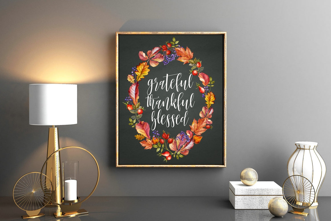 Grateful Thankful Blessed - FREE Printable - Pretty Collected