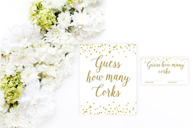 Guess How Many Corks - Gold Confetti Printable - Pretty Collected