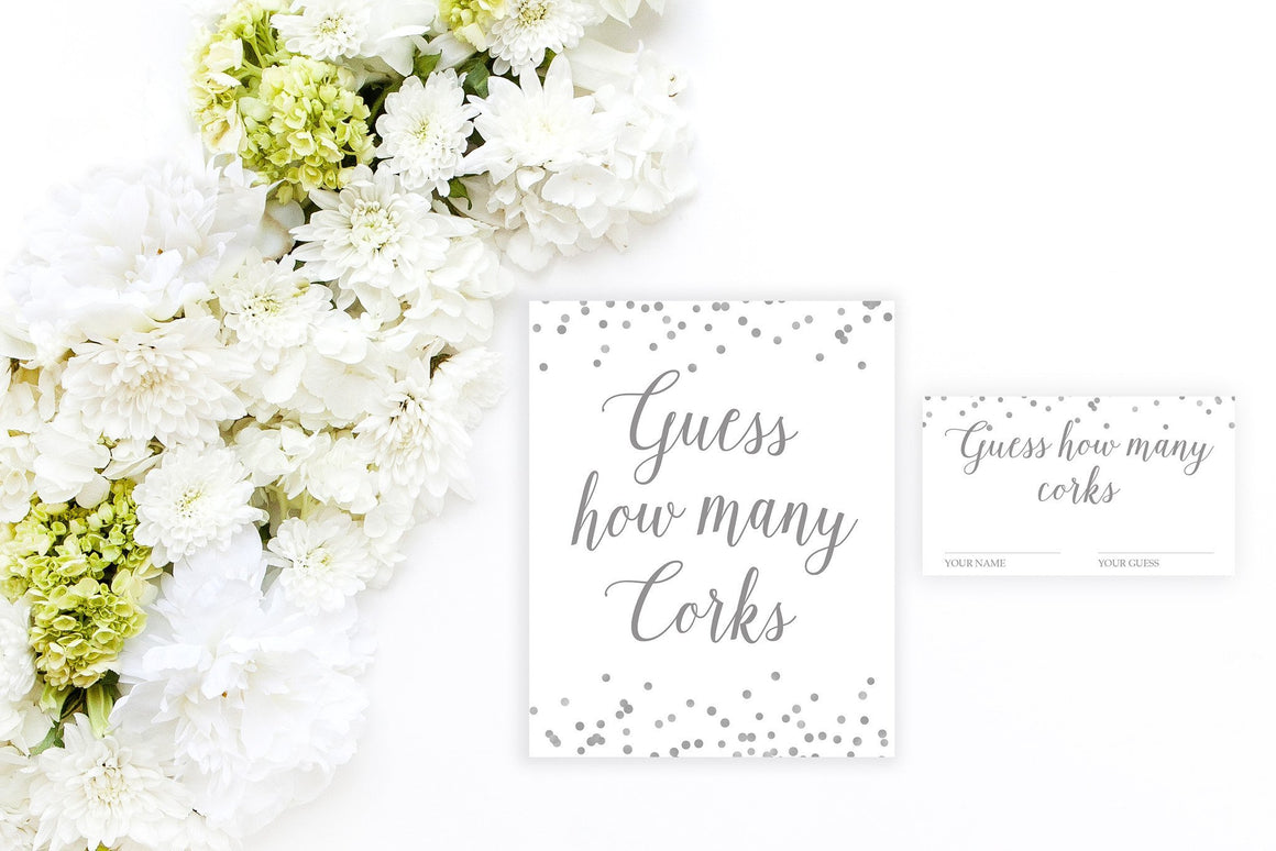 Guess How Many Corks - Grey Printable - Pretty Collected