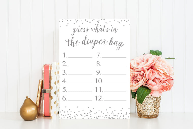What's In The Diaper Bag - Grey Confetti Printable - Pretty Collected