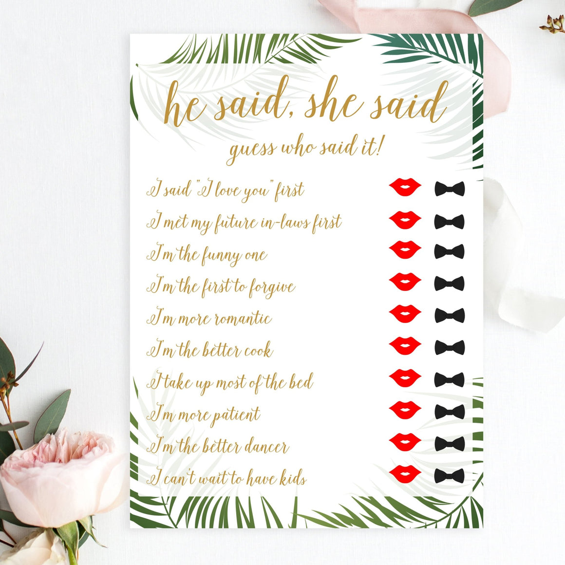 He Said, She Said (Red Lips) - Tropical Printable - Pretty Collected
