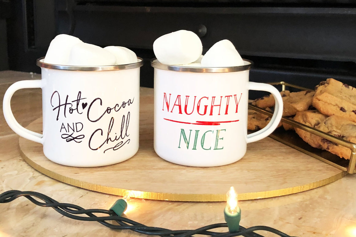 Naughty Over Nice Tin Campfire Mug - Pretty Collected