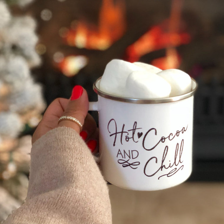 Hot Cocoa and Chill Tin Campfire Mug - Pretty Collected