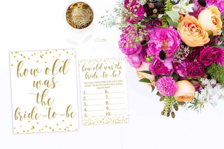 How Old Was The Bride-to-Be - Gold Confetti Printable - Pretty Collected