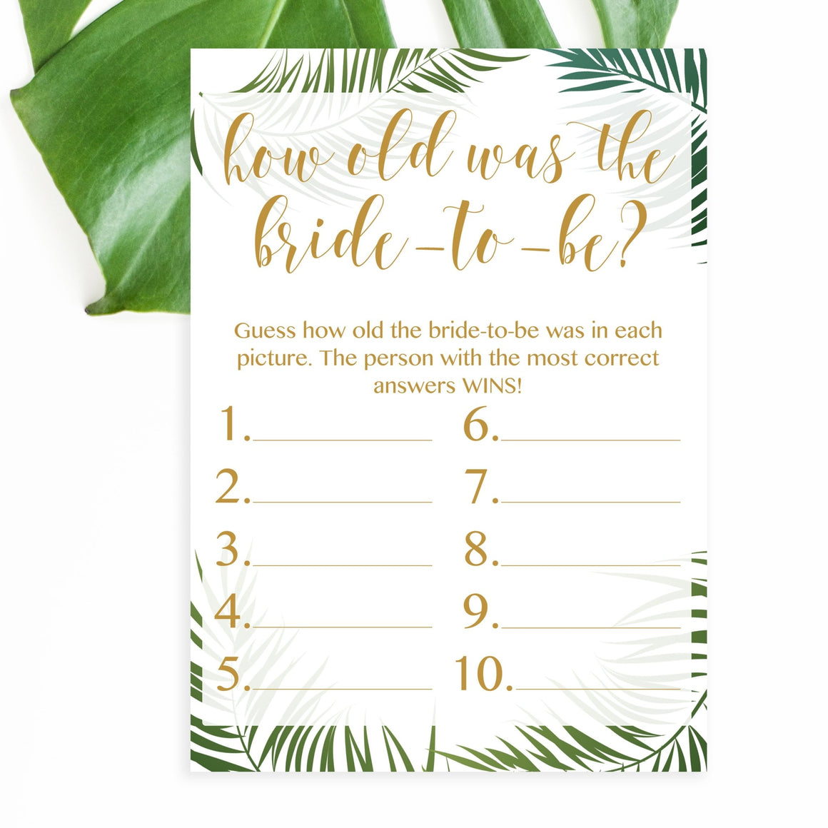 How Old Was The Bride-to-Be - Tropical Printable - Pretty Collected