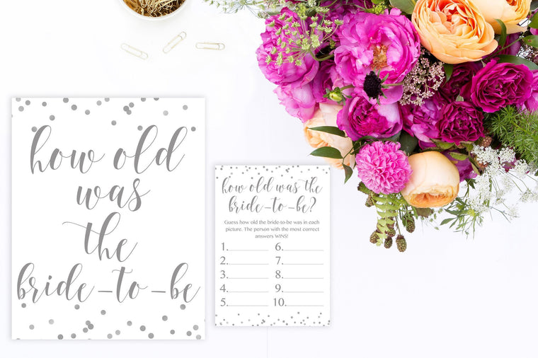 How Old Was The Bride-to-Be - Grey Printable - Pretty Collected