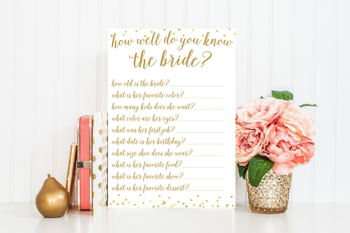 How Well Do You Know the Bride - Gold Confetti Printable - Pretty Collected