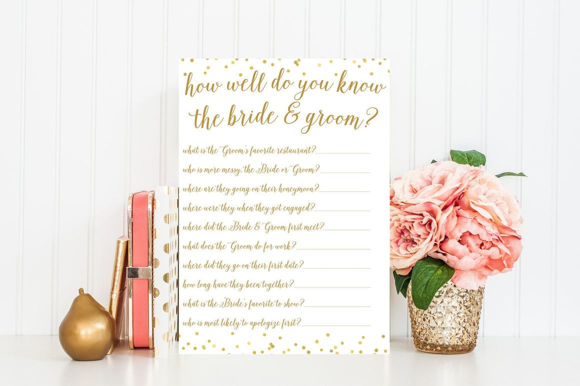 How Well Do You Know the Bride & Groom - Gold Confetti Printable - Pretty Collected