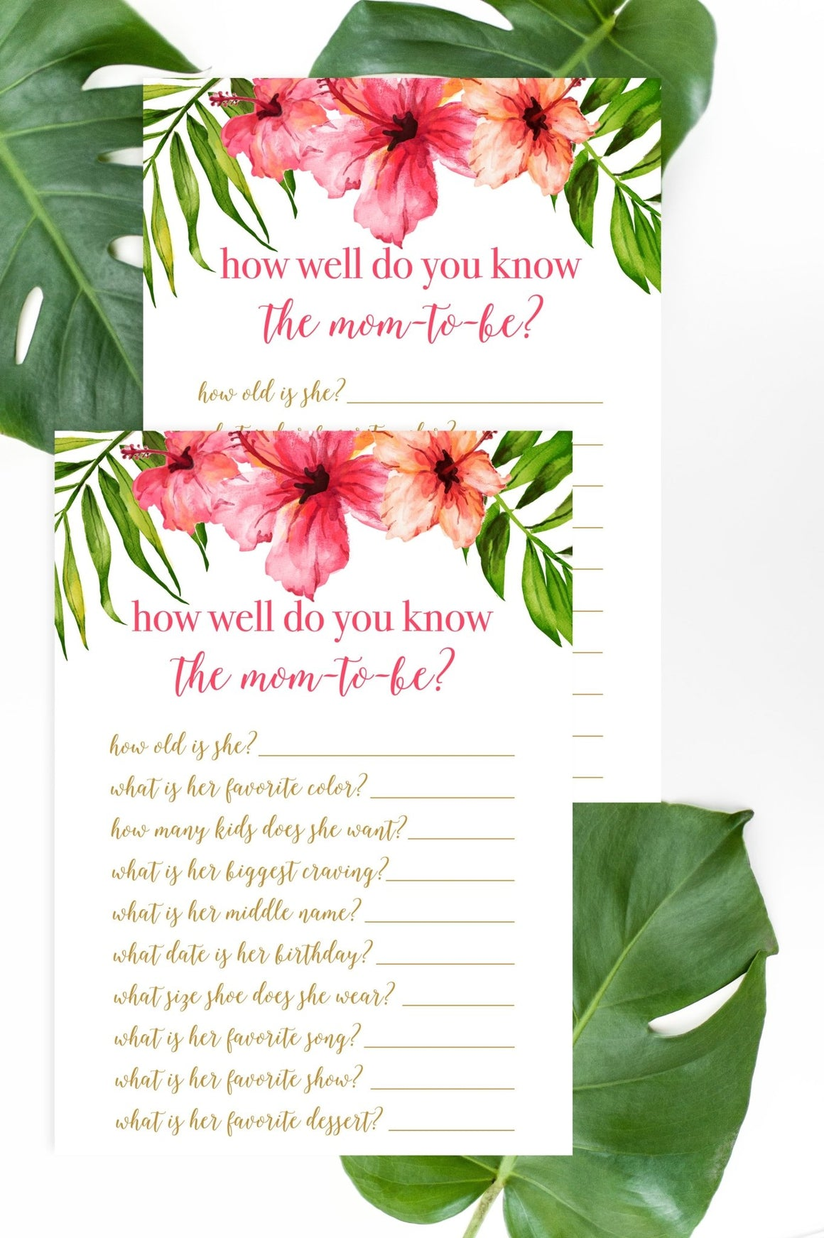 How Well Do You Know Mom-to-Be - Tropical Floral Printable - Pretty Collected