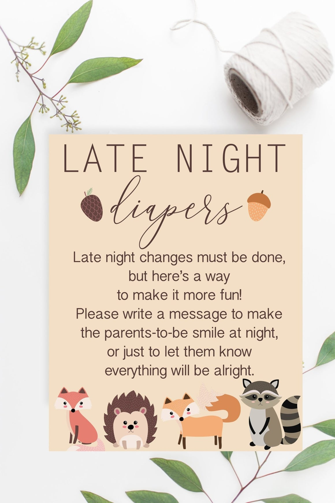 Late Night Diapers Sign - Woodland Printable - Pretty Collected