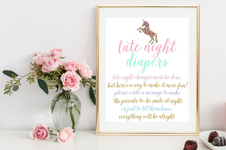 Late Night Diapers Sign - Unicorn Printable - Pretty Collected