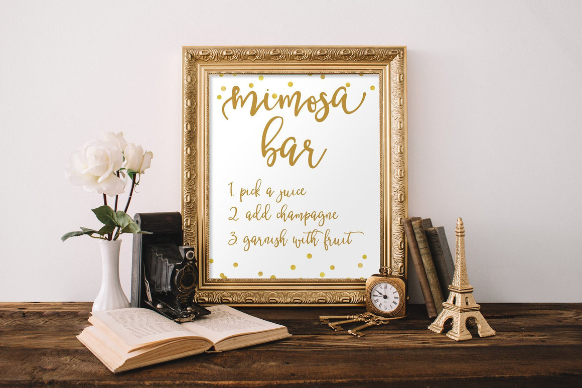 Mimosa Bar Sign - Gold Confetti Printable - Pretty Collected