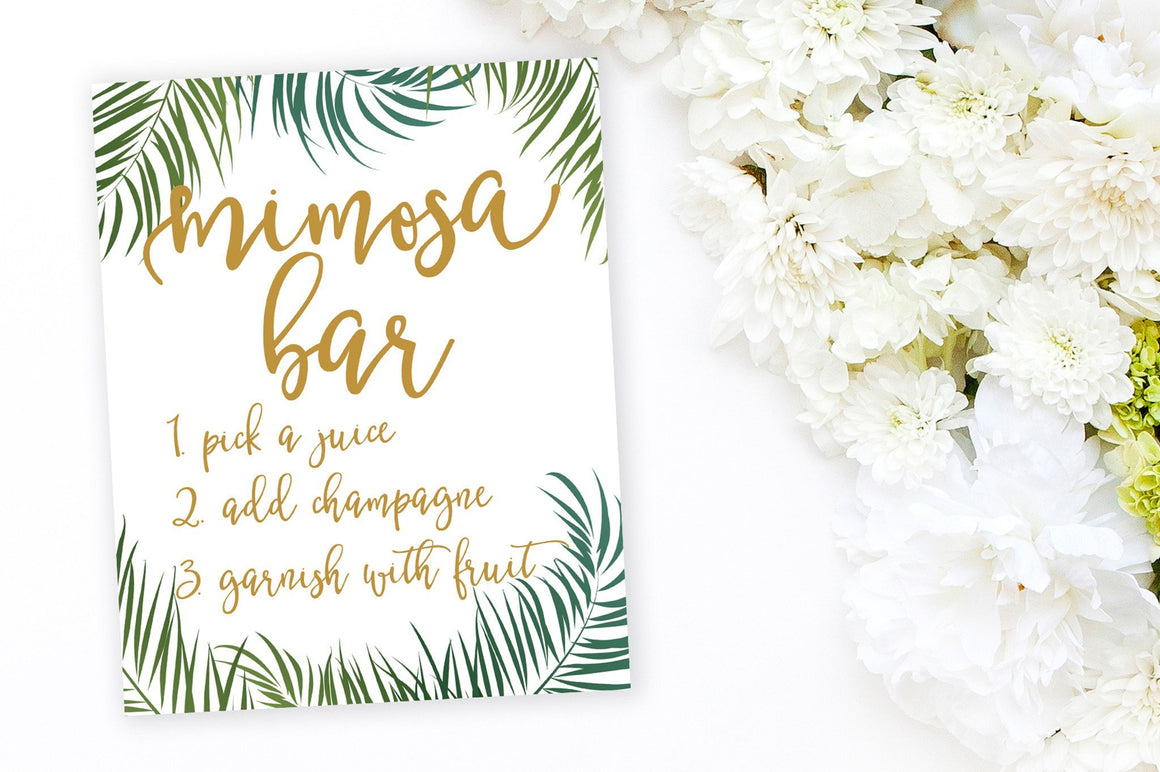 Mimosa Bar Sign - Tropical Printable - Pretty Collected