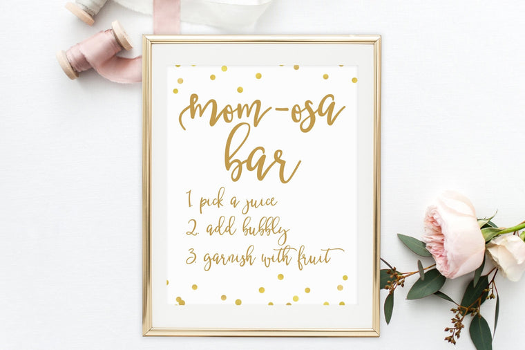 Mom-Osa Bar Sign - FREE Gold Confetti Printable - Pretty Collected