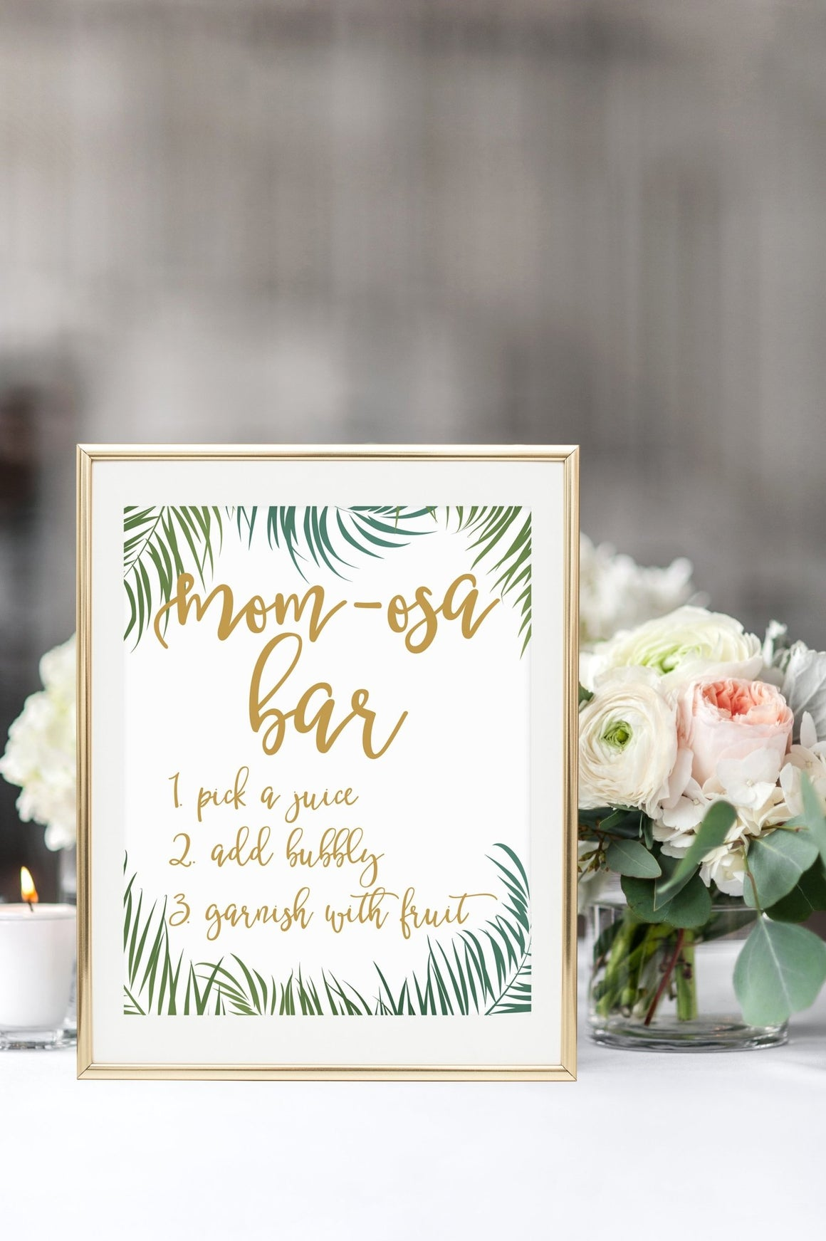 Mom-Osa Bar Sign - Tropical Printable - Pretty Collected