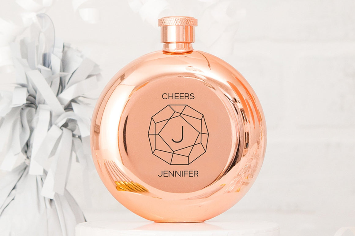 Cheers Monogram - Rose Gold Flask - Pretty Collected