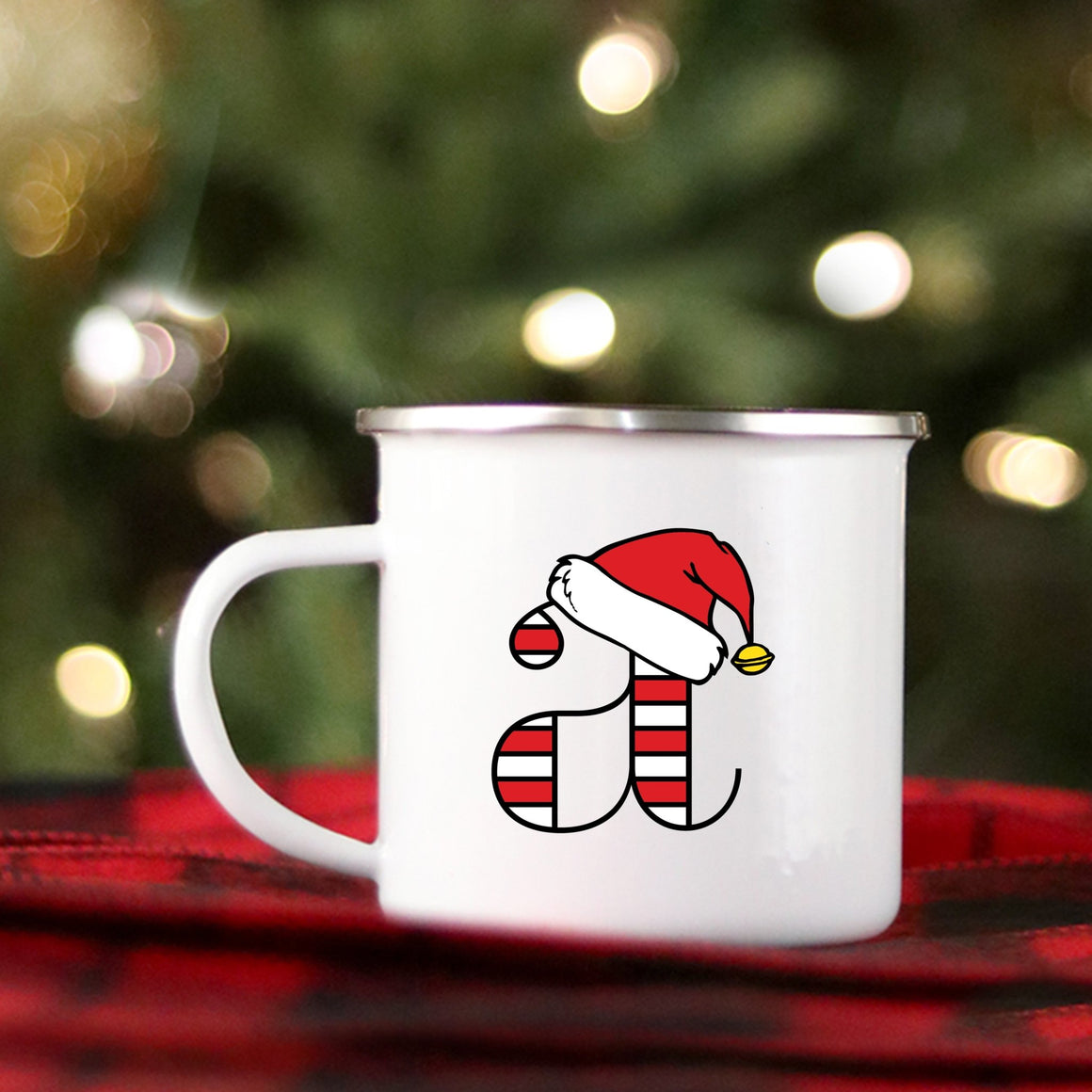 Candy Cane Monogram Campfire Mug - Pretty Collected