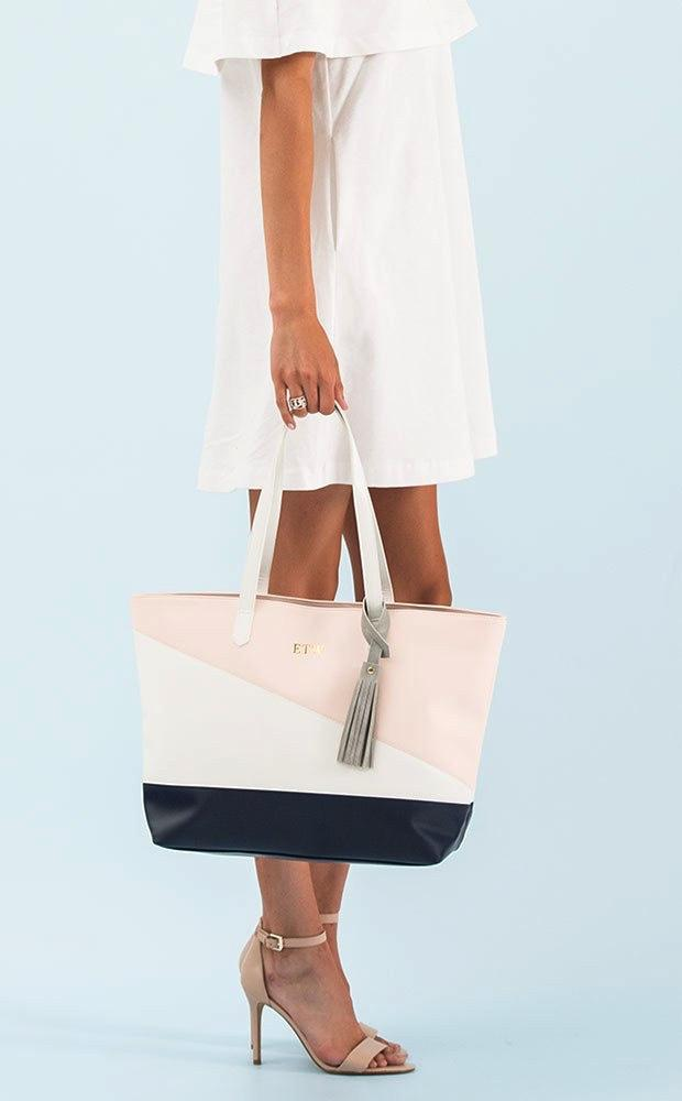 Monogram Faux Leather Tote - Pink, Navy & White - Pretty Collected