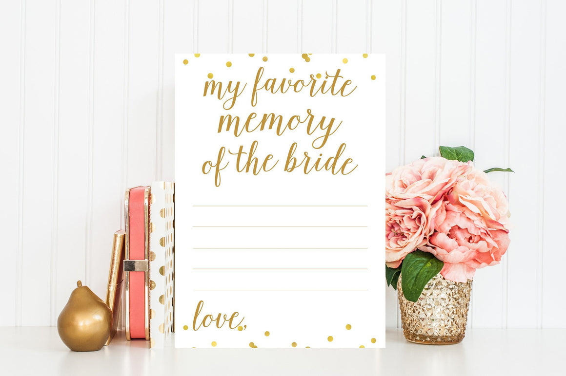 My Favorite Memory of the Bride - Gold Confetti Printable - Pretty Collected