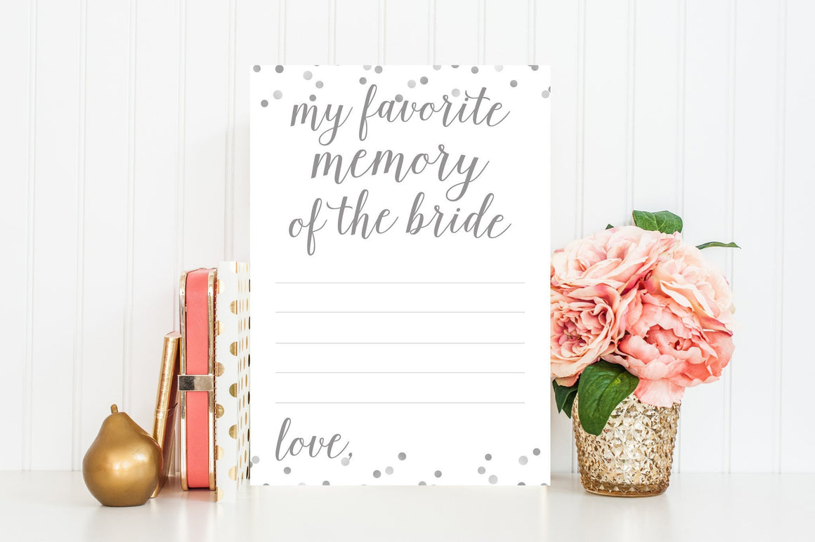 My Favorite Memory of the Bride - Grey Printable - Pretty Collected