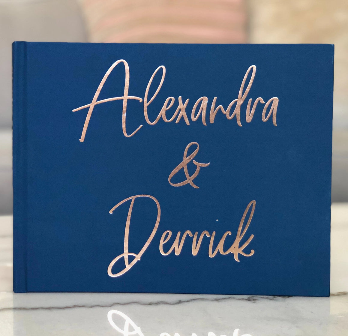 Navy and Rose Gold Wedding Guest Book - The Alexandra - Pretty Collected