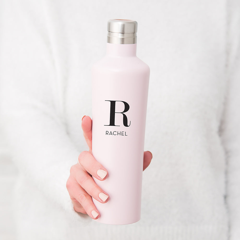 Personalized Initial Stainless Steel Water Bottle - White - Pretty Collected